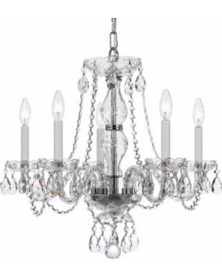 Crystorama Traditional Crystal 21 Inch 5 Light Chandelier - 5085-CH-CL-S