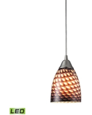 1 Light Pendant in Satin Nickel and Coco Glass - Led Offering Up To 800 Lumens (60 Watt Equivalent)