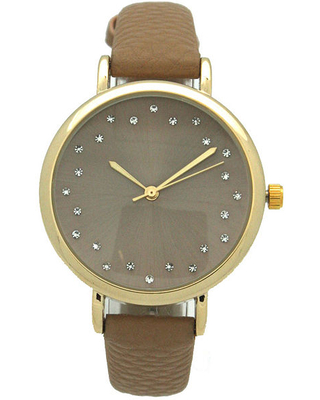 Olivia Pratt Womens Black Leather Strap Watch-A916284beige, One Size , No Color Family