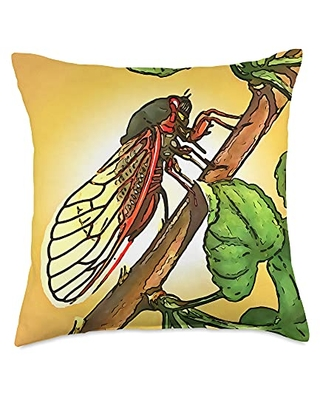 taiche Cicada Insect Black Outline Art Throw Pillow, 18x18, Multicolor