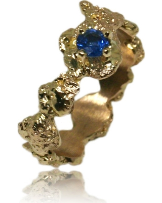 Karolina Bik Jewellery - Out Of The Sea Ring In 14K Gold & Saphire