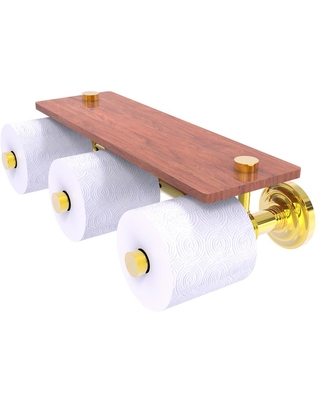 Allied Brass Que New Horizontal Reserve 3-Roll Toilet Paper Holder with Wood Shelf in Polished Brass