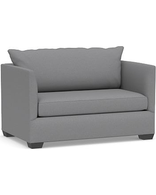 Luna Upholstered Twin Sleeper Sofa, Polyester Wrapped Cushions, Textured Twill Light Gray
