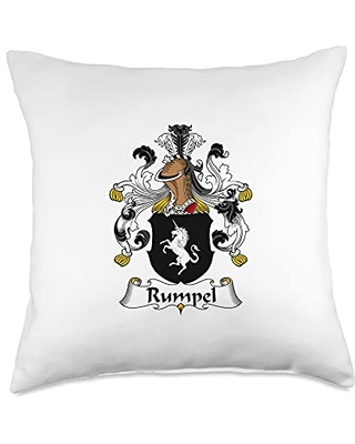 Family Crest and Coat of Arms clothes and gifts Rumpel Coat of Arms - Family Crest Throw Pillow, 18x18, Multicolor