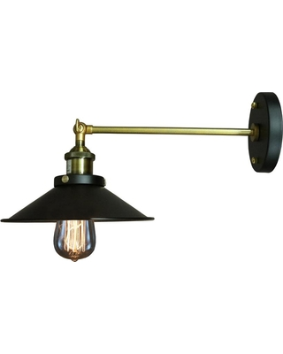 Warehouse of Tiffany Edison Dorothy Collection 1-Light Black Indoor Wall Sconce