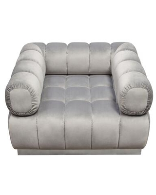 Image Collection IMAGECHGR Low Profile Chair in Platinum Gray Velvet with Brushed Silver