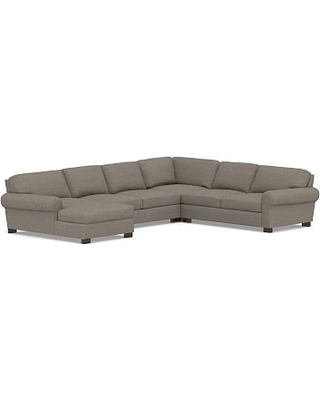 Turner Roll Arm Upholstered Right Arm 4-Piece Chaise Sectional, Down Blend Wrapped Cushions, Performance Chateau Basketweave Light Gray
