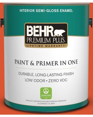 BEHR Premium Plus 1 gal. #P190-7 Inferno Semi-Gloss Enamel Low Odor Interior Paint and Primer in One