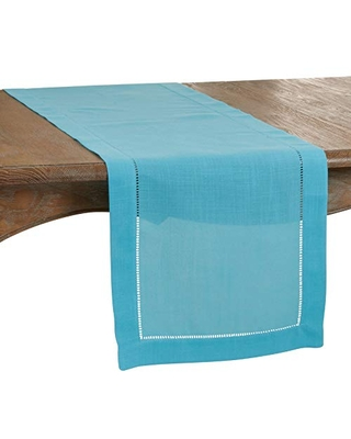 """SARO LIFESTYLE Rochester Collection Table Runner with Hemstitched Border, 16"""" x 120"""", Turquoise"""