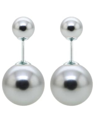 DaVonna Sterling Silver Round Shell Pearl Stud Earrings (8mm 16mm) (Grey)