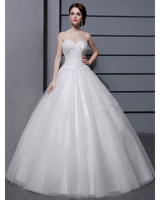 Milanoo Wedding Dresses Ball Gown Strapless Bridal Dress Ivory Sweetheart Neckline Tulle Applique Beaded Wedding Gown