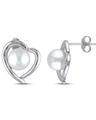 8-8.5mm White Freshwater Cultured Pearl and Diamond-Accent Sterling Silver Heart Earrings