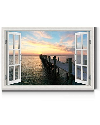 Renditions Gallery Quiet Pier Open Window Wall Art, Windows Looking at Calming Sea Water, Bright Colors, Premium Gallery Wrapped Canvas Decor, Ready to Hang, 32 in H x 48 in W, Made in America Print