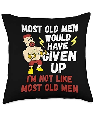 Zone - 365 Weight Lifting Lover Most Old Men Would Have Given Up By Now Gym Lovers Gift Throw Pillow, 18x18, Multicolor