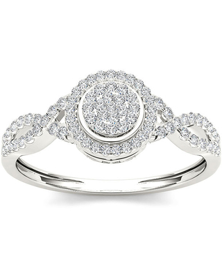 1/CT. T.W. Diamond 10K White Gold Engagement Ring, 7