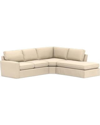 Pearce Square Arm Slipcovered Left 3-Piece Bumper Wedge Sectional, Down Blend Wrapped Cushions, Performance Everydayvelvet(TM) Buckwheat