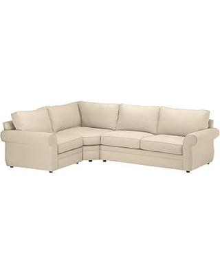Pearce Roll Arm Upholstered Right Arm 3-Piece Wedge Sectional, Down Blend Wrapped Cushions, Performance Everydayvelvet(TM) Buckwheat