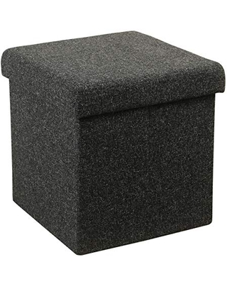Benjara Metal Collapsible Ottoman with Lift Off Lid Storage, Gray