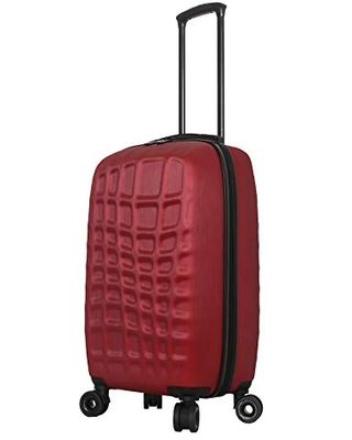 Mia Toro Italy Abstract Croco Hardside Spinner Luggage 24'' Inch, Red, One Size