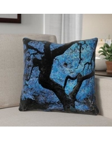 """Red Barrel Studio Ghost Train Japanese Maple Tree Faux Leather Throw Pillow RDBT6434 Size: 14"""" H x 14"""" W"""