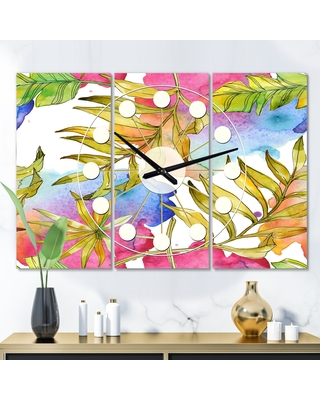 Designart 'Tropical Foliage IV' Oversized Mid-Century wall clock - 3 Panels - 36 in. wide x 28 in. high - 3 Panels (36 in. wide x 28 in. high - 3