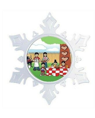 The Holiday Aisle® Personalized NTT Cartoon Snowflake Backyard Barbeque 2 Boys, 1 Girl Christmas Holiday Shaped Ornament, Plastic in Green/Clear