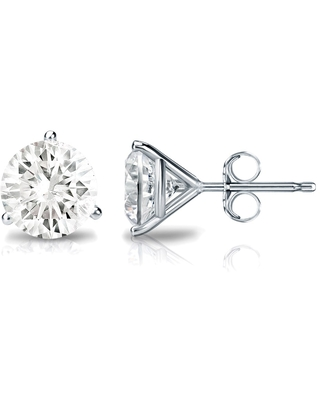 Auriya 3/5ctw Round Diamond Stud Earrings Platinum 3-Prong Martini (Platinum)