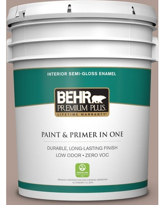 BEHR Premium Plus 5 gal. #N170-4 Coffee with Cream Semi-Gloss Enamel Low Odor Interior Paint and Primer in One