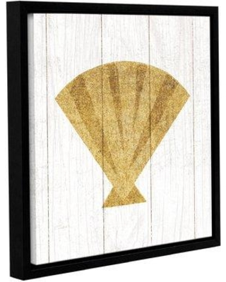 """Highland Dunes 'Beachscape Shell Gold Neutral' Framed Graphic Art Print on Canvas HLDS5369 Size: 14"""" H x 14"""" W x 2"""" D"""