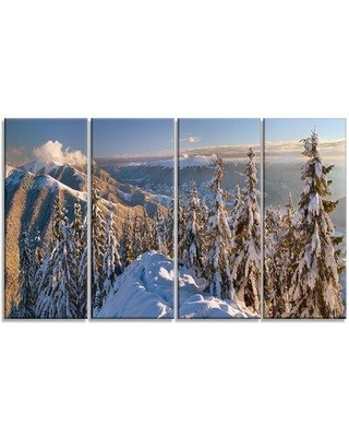 """Design Art 'Winter Carpathians Panoramic View' Photographic Print Multi-Piece Image on Wrapped Canvas, Canvas & Fabric in Brown, Size Medium 25""""-32"""""""