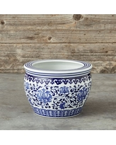 Blue & White Ceramic Planter, Small