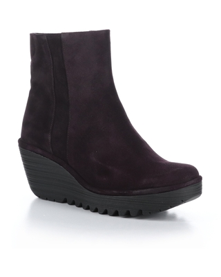 Fly London Yulu Wedge Bootie, Size 5.5Us in Purple Oil Suede at Nordstrom
