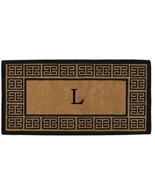 Calloway Mills The Grecian Monogram Outdoor Doormat, Extra-thick 3' x 6' (Letter L)