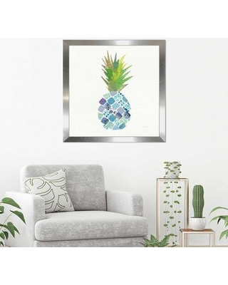 "Bay Isle Home 'Tropical Fun Pineapple II' Watercolor Painting Print BYIL2269 Size: 27.5"" H x 27.5"" W x 0.75"" D Format: Framed Plexiglass"