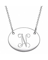 Sterling Silver Oval Tag Initial Necklace (Silver/N)