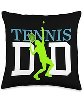 Father's Day Designs Dad-Gifts Tennis Dad Funny Daddy Papa Pops Fathers Day Gift Idea Throw Pillow, 16x16, Multicolor