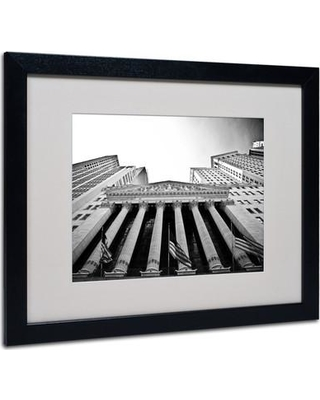 """Trademark Art """"The New York Stock Exchange"""" by Yale Gurney Framed Photographic Print YG0003- Frame: Black Size: 16"""" H x 20"""" W x 0.5"""" D"""