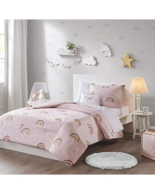 Mizone Kids Alicia Rainbow with Metallic Printed Stars Complete Bed and Sheet Set Pink Full