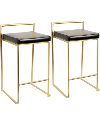 "Set of 2 27"" Fuji Contemporary Counter Stool Black - Lumisource"