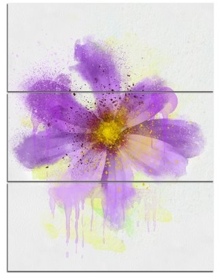 'Purple Flower with Large Petals' 3 Piece Painting Print on Wrapped Canvas Set Design Art