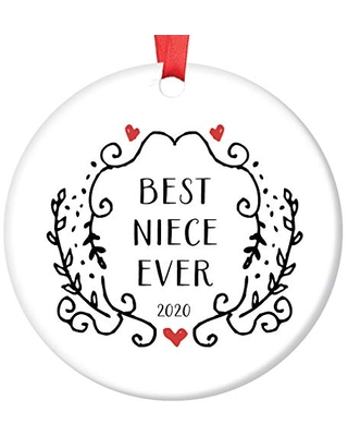 Shopping Special For Niece Ornament 2020 Christmas Gift For Girls From Aunt Uncle Special Dated Keepsake Holiday Present Baptism Graduation Birthday Pretty Girly Black White Swirls 3 Flat Circle Ceramic Tree Decoration