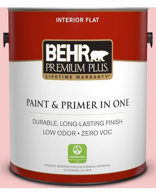 BEHR PREMIUM PLUS 1 gal. #T12-20 First Peach Flat Low Odor Interior Paint and Primer in One