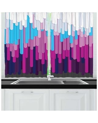 Backdrop Long Strips Drops Dripping Downwards Form Pouring Visual Art Painting Kitchen Curtain East Urban Home