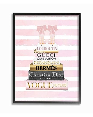 Multi-Color 24 x 30 Stupell Industries Urban Glam Girls Rule Phrase with Pink Shades Wall Art