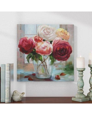 """Andover Mills™ 'Rose Society' - Oil Painting Wrapped Canvas Print, Canvas and Fabric in Red/Green, Size 40"""" H x 40"""" W   Wayfair"""