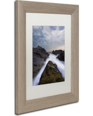 """Trademark Art 'On the Rocks' Framed Photographic Print on Canvas ALI3802-T1 Size: 14"""" H x 11"""" W x 0.5"""" D Matte Color: White"""