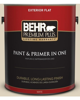 BEHR Premium Plus 1 gal. #PPU4-12 Natural Almond Flat Exterior Paint and Primer in One