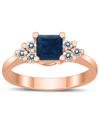 Princess Cut 5X5MM Sapphire and Diamond Duchess Ring in 10K Rose Gold (9)