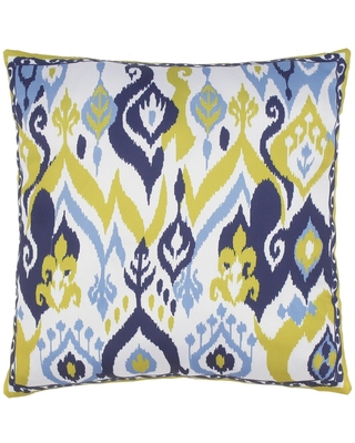 Modern Ikat Del Silk Pillow (Polystyrene Beads - 16 in. x 16 in. - Accent - Ivory - Single)