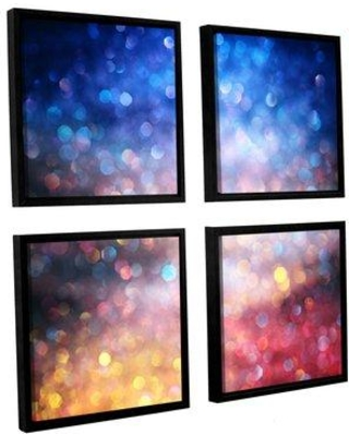 """Ebern Designs 'Sunrise Abstract' 4 Piece Framed Graphic Art Print on Canvas EBND2049 Size: 48"""" H x 48"""" W x 2"""" D"""